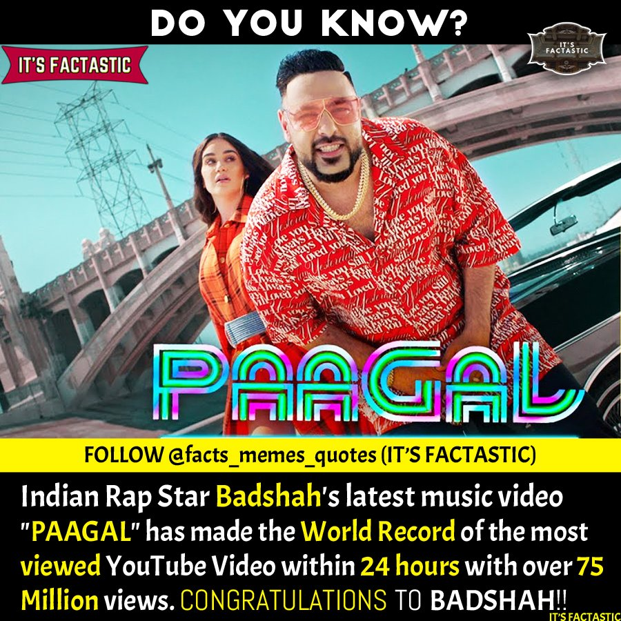 Indian Rapper Badshah's Song PAAGAL's Poster.